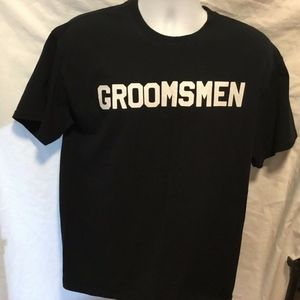 Gildan Mens Sz L Black TShrt T Shirt Groomsmen